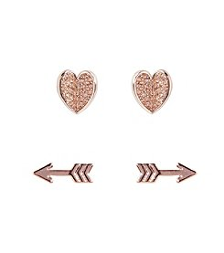 Vera Bradley® Heart and Arrow Rose Goldtone Earrings Set