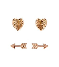 Vera Bradley® Heart and Arrow Yellow Goldtone Earrings Set
