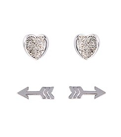 Vera Bradley® Heart and Arrow Silvertone Earrings Set