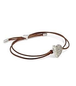 Vera Bradley® Heart Bent Silvertone Slider Bracelet