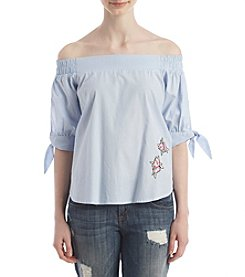 Living Doll® Off-Shoulder Poplin Top