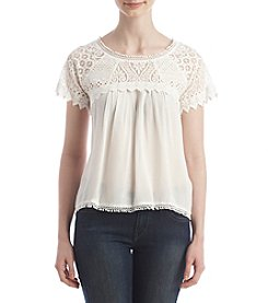 Sequin Hearts® Crochet Yoke Tee