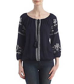 Sequin Hearts® Embroidered Peasant Top