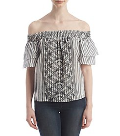 Sequin Hearts® Off-Shoulder Embroidered Top