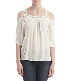 Hippie Laundry Lace Trim Cold-Shoulder Top