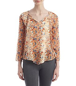 Hippie Laundry Watercolor Floral Peasant Top