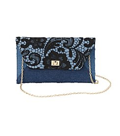 La Regale® Lace & Denim Envelope Clutch