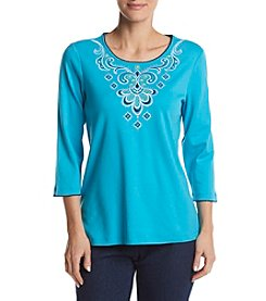 Alfred Dunner® Scroll Yoke Pullout Knit Top