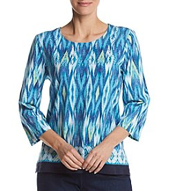 Alfred Dunner® Ikat Border Knit Top