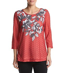 Alfred Dunner® Leaf Pullout Tee Knit Top