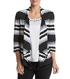 Alfred Dunner® Texture Stripe Layered Look Knit Top