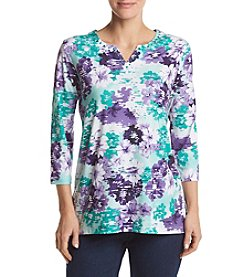 Alfred Dunner® Abstract Floral Knit Tunic Top