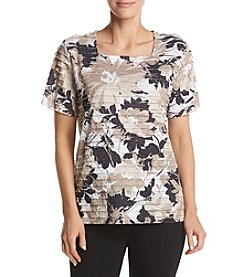 Alfred Dunner® Neutral Floral Tiered Blouse
