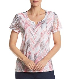 Alfred Dunner® Abstract Floral Lace Knit Top