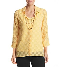 Alfred Dunner® Clip Dot Layered Look Woven Top