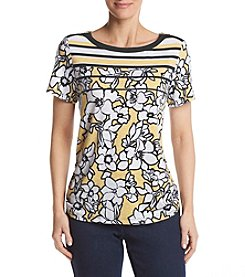 Alfred Dunner® Stripe Yoke Floral Knit Top