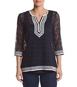 Alfred Dunner® Contrast Lace Tunic Knit Top