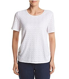 Alfred Dunner® Solid Texture Wtih Back Lace Knit Top