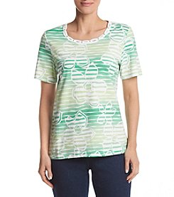 Alfred Dunner® Monotone Floral Stripe Knit Top