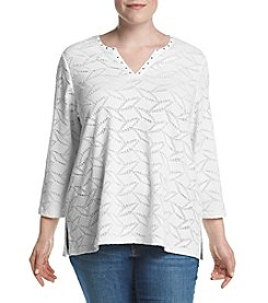 Alfred Dunner® Plus Size Scenic Route Lace Texture Knit Top