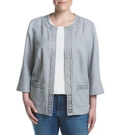 Alfred Dunner® Plus Size Rose Hill Laser Cut Jacket
