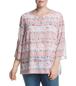 Alfred Dunner® Plus Size Watercolor Print Woven Top