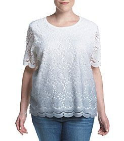 Alfred Dunner® Plus Size Rose Hill Lace Front Sweater