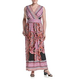 Studio Works® Plus Size V-Neck Print Surplice Dress