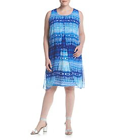 Studio Works® Plus Size Print Knit Dress With Overlay