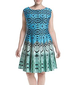 Gabby Skye® Plus Size Geo Fit And Flare Dress