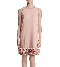 Nina Leonard Ruffle Bottom Shift Dress