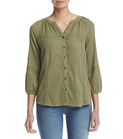 Ruff Hewn Petites' Button Front Embroidered Top