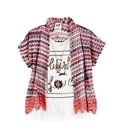 Belle du Jour Girls' 7-16 Crop Cardigan Print Tank