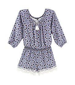 Sequin Hearts® Girls' 7-16 Printed Peasant Romper