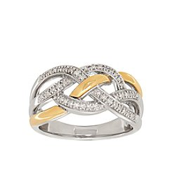 Sterling Silver And 14K Yellow Gold 0.12 Ct. T.W. Diamond Ring