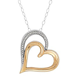 Sterling Silver And 10K Yellow Gold 0.05 Ct. T.W. Diamond Heart Pendant