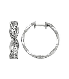 Sterling Silver 0.008 Ct. T.W. Diamond Hoop Earrings