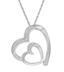 Sterling Silver 0.16 Ct. T.W. Diamond Heart Pendant