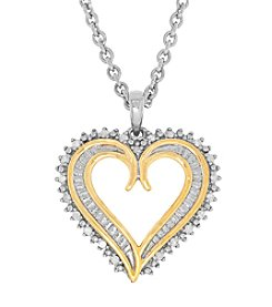 Sterling Silver With 18K Gold Partial Plating 0.10 Ct. T.W. Diamond Heart Pendant