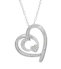 Sterling Silver 0.25 Ct. T.W. Diamond Heart Pendant
