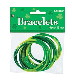 St. Patrick's Day Pack of 16 Green Rubber Bracelets