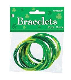 St. Patrick's Day Pack of 16 Green Rubber Bracelets