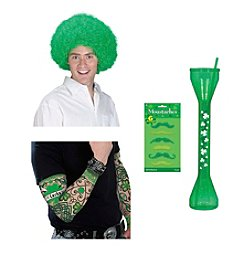 St. Patrick's Day Wig, Arm Tattoo, Mustache Pack & Yard Long Cup Accessory Bundle
