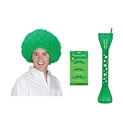 St. Patrick's Day Wig, Arm Tattoo & Mustache Pack Accessory Bundle