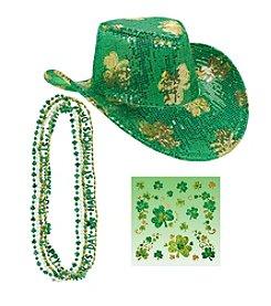St. Patrick's Day Cowboy Hat, Shamrock Body Jewelry & Necklaces Accessory Bundle