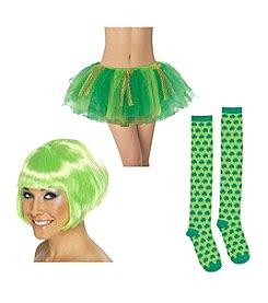 St. Patrick's Day Wig, Tutu & Knee-High Shamrock Socks Accessory Bundle