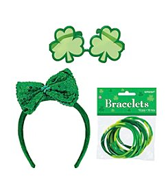 St. Patrick's Day Bracelets, Shamrock Sunglasses & Bowtie Headband Accessory Bundle