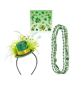 St. Patrick's Day Necklaces, Shamrock Body Jewelry & Top Hat Headband Accessory Bundle
