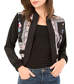 A. Byer Scarf Printed Bomber Jacket