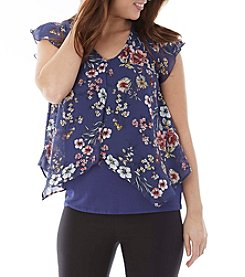 A. Byer Floral Sheer Overlay Top